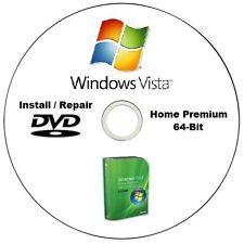 Windows Vista Home Premium 64-Bit SP2 Installation / Repair DVD Disc HQ CD