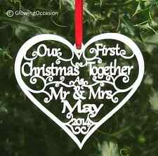 Our First / 1st Christmas Mr&Mrs Personalised Tree Decoration Heart Bauble Gift
