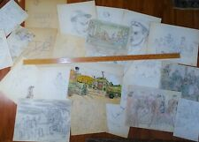 SUPER WWII IDd Soldier Archive Paintings Drawings IDd Artist, Scenes & Portraits