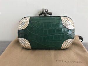 BOTTEGA VENETA Knot green Crocodile skin leather & silver Clutch