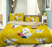 3D Floral Tea Pot Ice Cream Quilt Cover Sets Pillowcases Duvet Comforter Cover