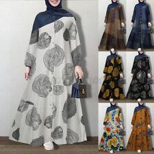 Mujeres Mangas Largas Estampado Floral Casual Suelta Abaya Caftán Holgado Maxi vestido musulmán