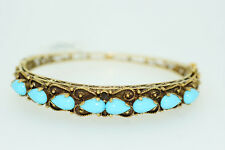 Vintage Rare 14K Karat Yellow Gold Ladies Bangle Bracelet Turquoise Gemstones