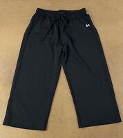 Under Armour Women's Size Medium Black Lightweight Drawstring Capri Pants