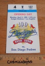 Los Angeles Dodgers 1990 Opening Day Game ticket vs Padres Orel Hershiser