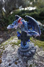 74266 V   FIGURINE  STATUETTE BOUGEOIR DRAGON BLEU   HEROIC  FANTASY 30%