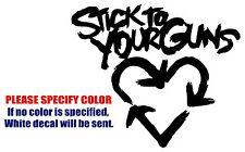 """Stick to Your Guns heart Band Vinyl Decal Car Sticker Window bumper Laptop 6"""""""