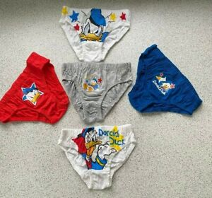 5 Pairs BOYS New DISNEY DONALD DUCK Pants Briefs  BLUE Grey WHITE 2 - 3 years .