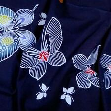 "Japanese Obi Cotton, Butterflies on Navy, 15"" Wide, Per Yard"