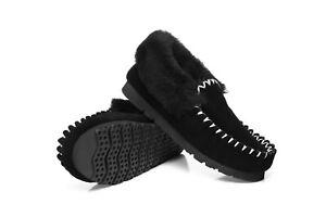 【Black】UGG Australian Merino Sheepskin Moccasins Slippers Casual Slip