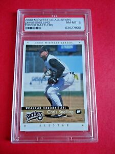 Chris Snelling, 2000 Active Graphics Baseball card, Timber Rattlers PSA Graded 8