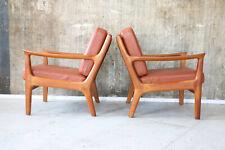 1(2) 60er Juul Kristensen Teak LEDERSESSEL Mid-Century 60s Easy Chair Vintage