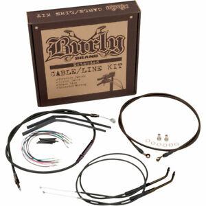 "Burly 14"" Handlebar Black Brake Line Cable Kit for 2012-2017 Harley Dyna w/ ABS"
