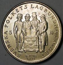 1959 Sweden 5 Kronor BU Silver Coin Constitution of 1809 Commemorative