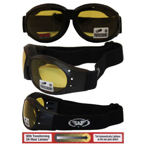 Motorcycle Goggles Cycling Transition Lens Self Tinting Yellow to Smoke Googels
