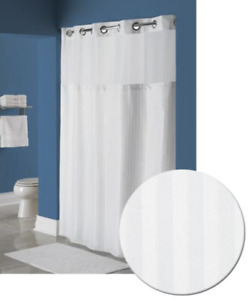 Hookless Shower Curtain W/ Snap-On Removable Liner & Window Herringbone Pattern