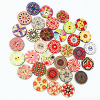 100x Mixed Luxury Colorful Flowers Wood Buttons Scrapbooking Sewing Craft 20mm