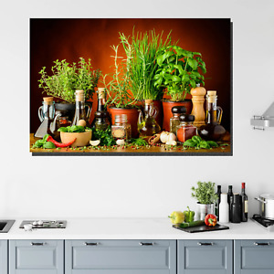 Herbs Oils and Spices Kitchen Dining and Cafe Decor Canvas Art Print