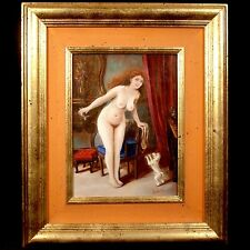 VINTAGE erotic PAINTING SIGNED Young GIRL naked WOMAN NUDE Pin up GOLD FRAME