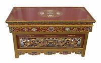 Tavola Tibetano Per Té Buddista 91x46cm Dragone Mobile Altare Lavorato 26781