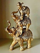 Gold Elephant Family Ornament 3 Stacked Elephants Statue Floral Design Figurine