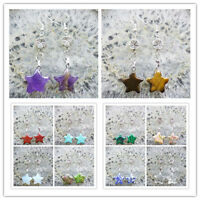 Mixed Gemstone Star & Tibet Silver Flower Earring (sent randomly) HX112