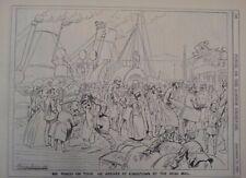 "7x10 ""Punch Cartoon 1891 Harry Furniss Señor Punch On Tour Kingston por Irish Mail"