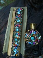 Vintage Gold Tone Multi Rhinestone Perfume Compact and Comb Set