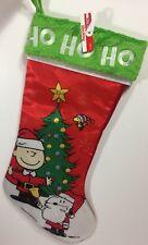 "Peanuts Charlie Brown Snoopy Woodstock ""HO HO HO"" Christmas Stocking 19"" NWT"
