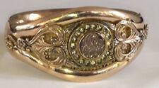 C1910 ANTIQUE Victorian Yellow Rose GOLD FILLED GF Hinged Bangle Bracelet