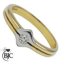 Bjc 9Ct Oro Amarillo Diamante 0.10ct Vestido Talla N Compromiso Anillo de R73