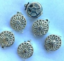 Sterling Silver 1-Strand Fancy Filigree 12mm Round Clasps w/Rings - Marked 6 Pcs