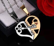 Stainless Steel Match Key Heart Love Men Women Couple Pendant Necklace  520 1314