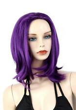 Women Cospaly Short Synthetic Hair Anime Full Wig Straight Purple Wigs+Cap