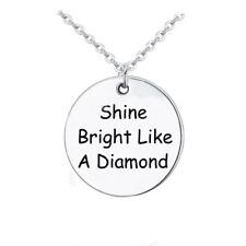 925 Silver Plt 'Shine Bright Like A Diamond' Pendant Necklace Rihanna Sia D