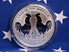 GSM 2017 Year of the Rooster Uncirculated 1oz Troy .999 Fine Silver Coin USA