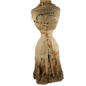 Antique 1800s Victorian Wasp Waist Corset Display Mannequin Warners Advertising