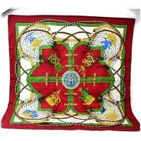 Authentic Hermes Scarf Grande Tenue  Silk Bordeaux X Greens 1113655