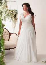 2016 V-Neck Chiffon Applique Plus Size Beach Wedding Dresses Cap Sleeve