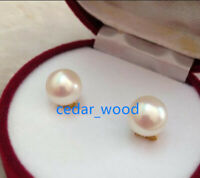 New 7-8mm AAA++ white round  natural akoya pearl earrings 14k yellow gold