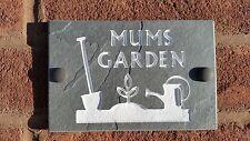 """Garden Slate Sign, Mums, Grandmas, Dads Garden 6""""x4"""" Present Gift Wall Gardening"""