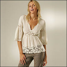 *SALE* $395 CATHERINE MALANDRINO IVORY LACE BLOUSE TOP NWT! L, 10/12