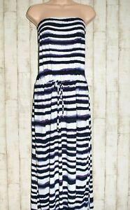 MONSOON:  WHITE & BLUE STRIPED BANDEAU MAXI DRESS - SIZE XL (SIZE 20-22)