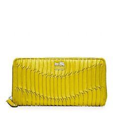 $248 NWT Coach Madison Gathered Leather Accordion Zip Wallet 46481 Silver/Kiwi