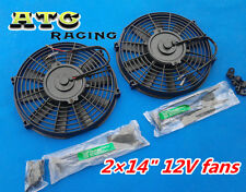 "2* 14"" 12V Slim electric Radiator Cooling Fan GTI/V8/GTR/GTS + Mounting kit"