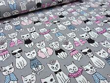 Stoff Baumwolle Jersey Katzen grau rosa pink blau weiß Kinderstoff