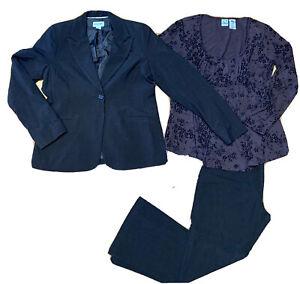 3pc Motherhood Maternity Brown Career Work Suit Jacket coat and Pant Set Lot M