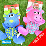 Kong Weave Knots Dog Toy Pink Pig Blue Moose Tough Core Rope Squeaky Plush Soft