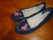 SPERRY KATHRYN NAVY SUEDE W/PINK TASSELS SLIP ON TOP SIDER LOAFER SHOES 11 M