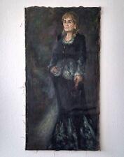 """Russischer Realist Expressionist Öl Leinwand """"Frau in Schwarz"""" 130x68 cm"""